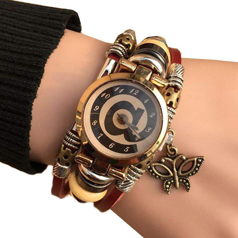 Butterfly Faux Leather Strap Bracelet Watch - BROWN