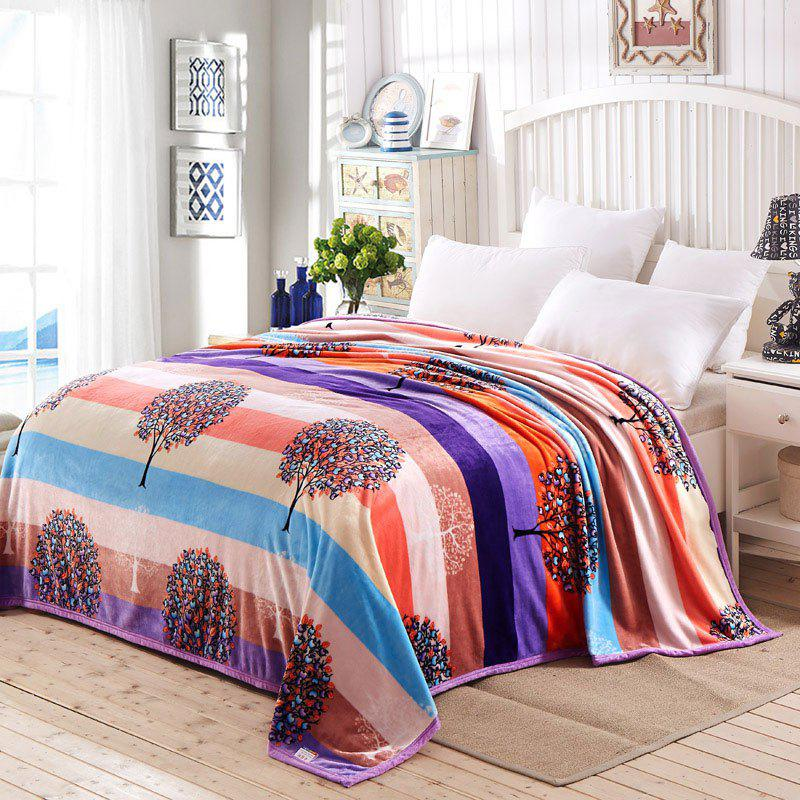 Argent Tree Print Super Soft Nap Throw Blanket - coloré QUEEN