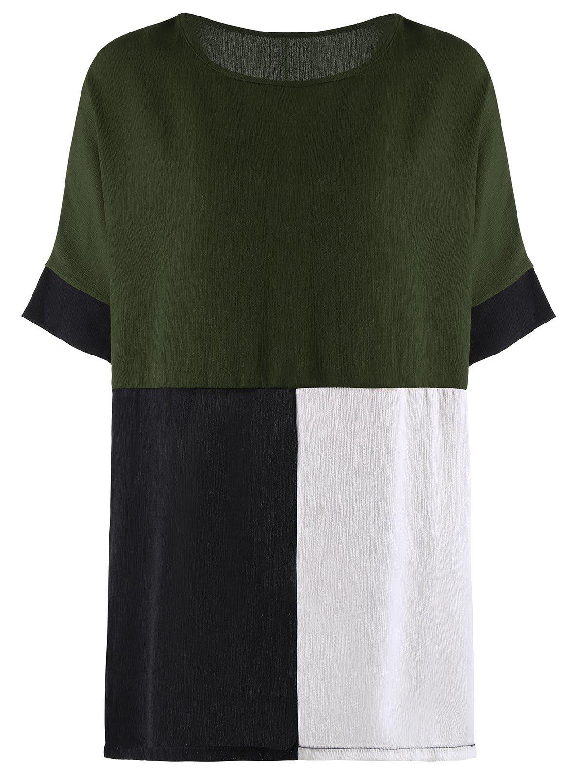 Color Block Oversized Tunic Top - GREEN 2XL