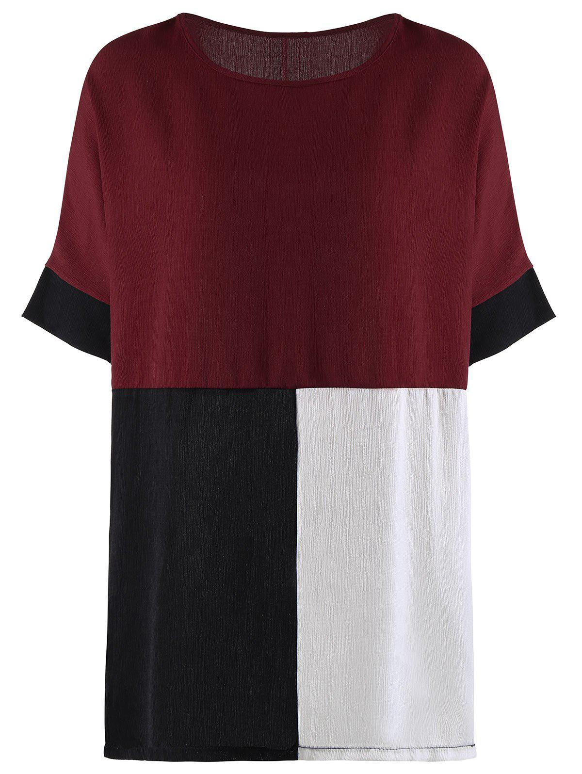 Color Block Oversized Tunic Top - WINE RED 2XL