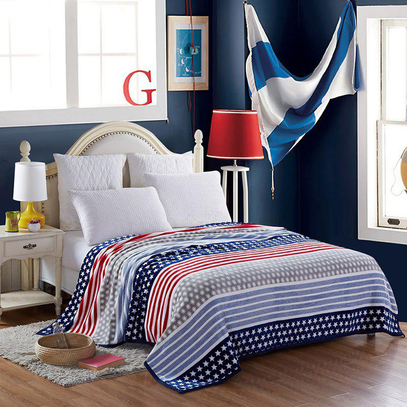 Star and Stripe Spring Summer Throw Blanket - BLUE FULL