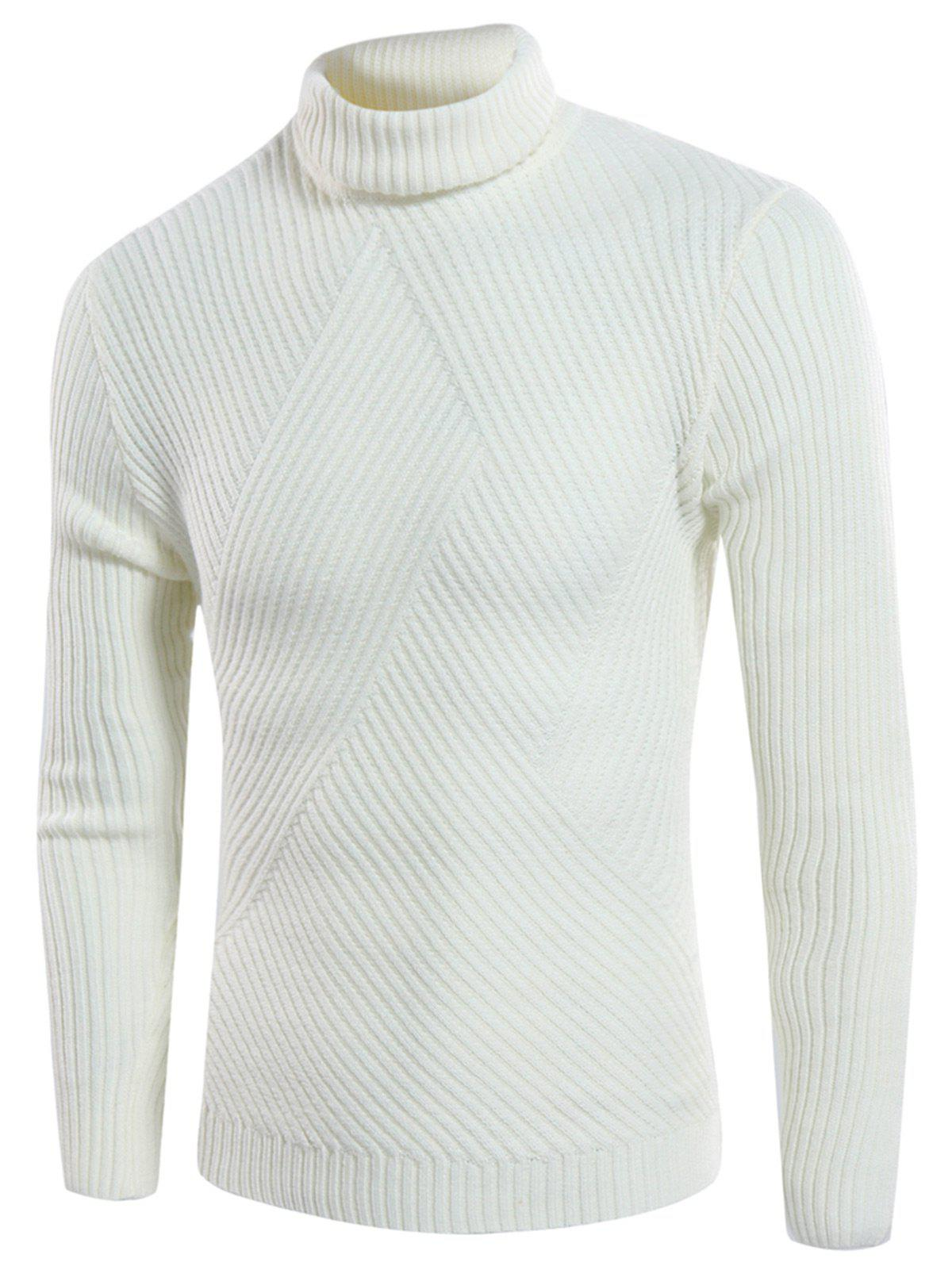 Turtle Neck Rib Design Twill Knitting Sweater - OFF WHITE L