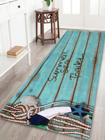 Soft Absorption Wood Grain Coral Fleece Area Rug - LAKE BLUE W24 INCH * L71 INCH