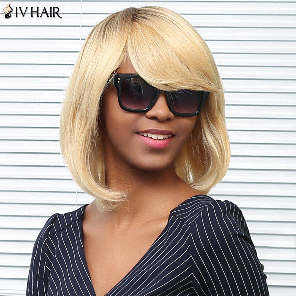 Siv Hair Medium Straight Sided Bang Bob Human Hair Wig - COLORMIX