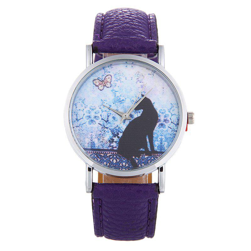 Cat Face Faux Leather Strap Watch