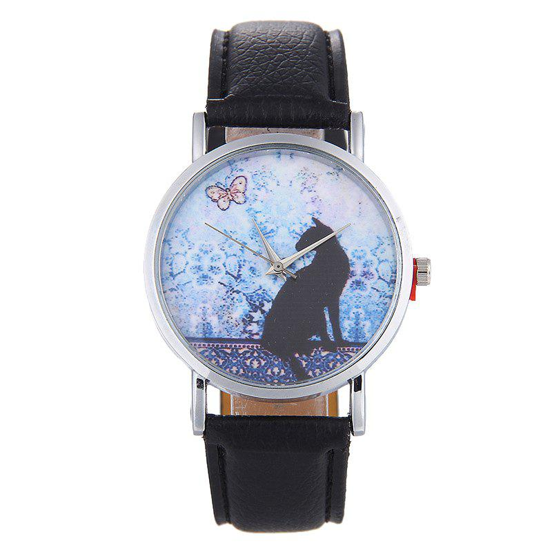 Cat Face Faux Leather Strap Watch - BLACK