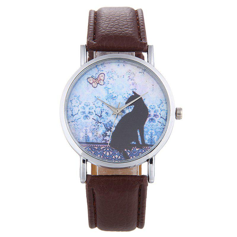 Cat Face Faux Leather Strap Watch - BROWN