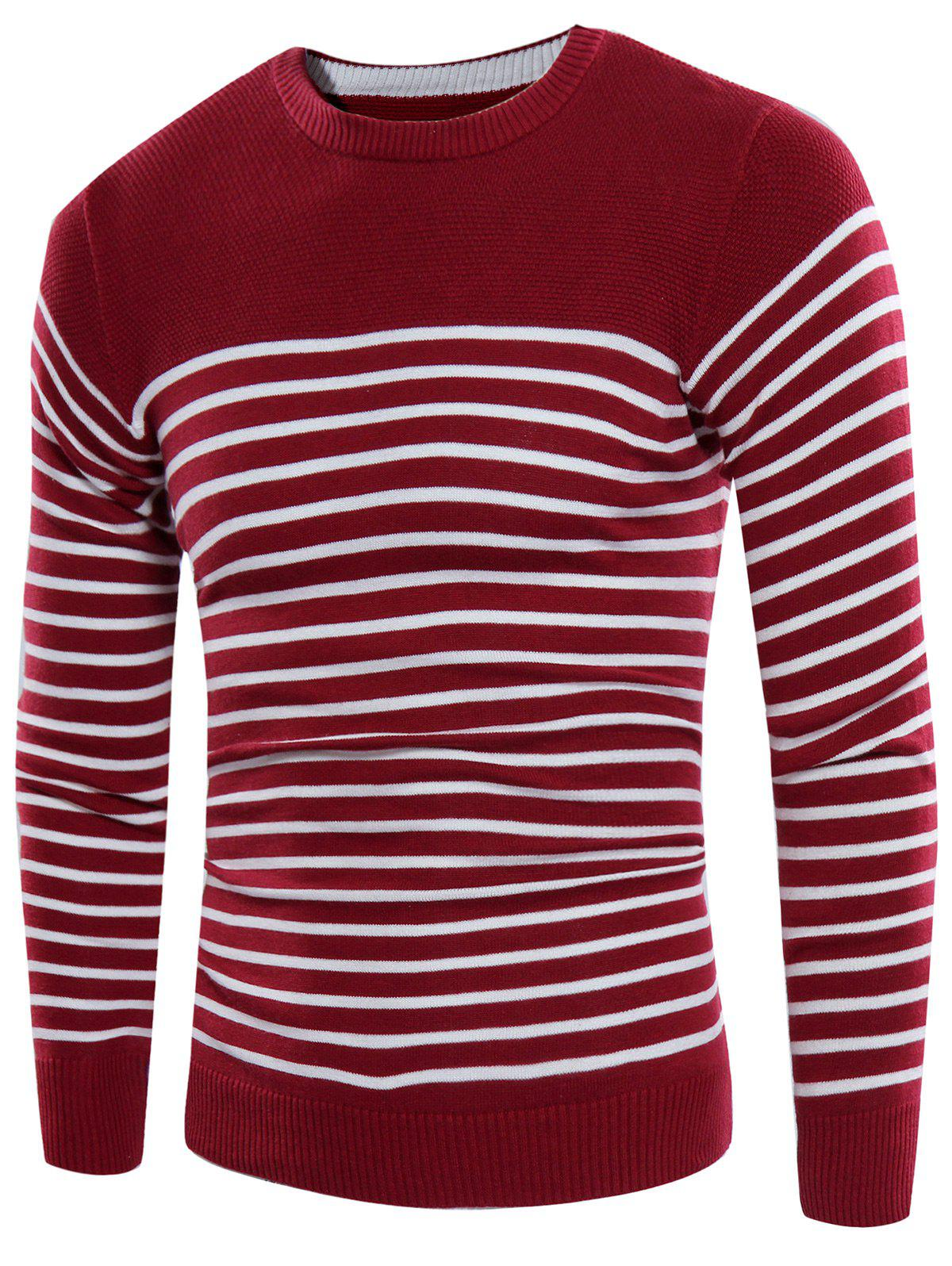 Crew Neck Rib Panel Striped Design Sweater - WINE RED L