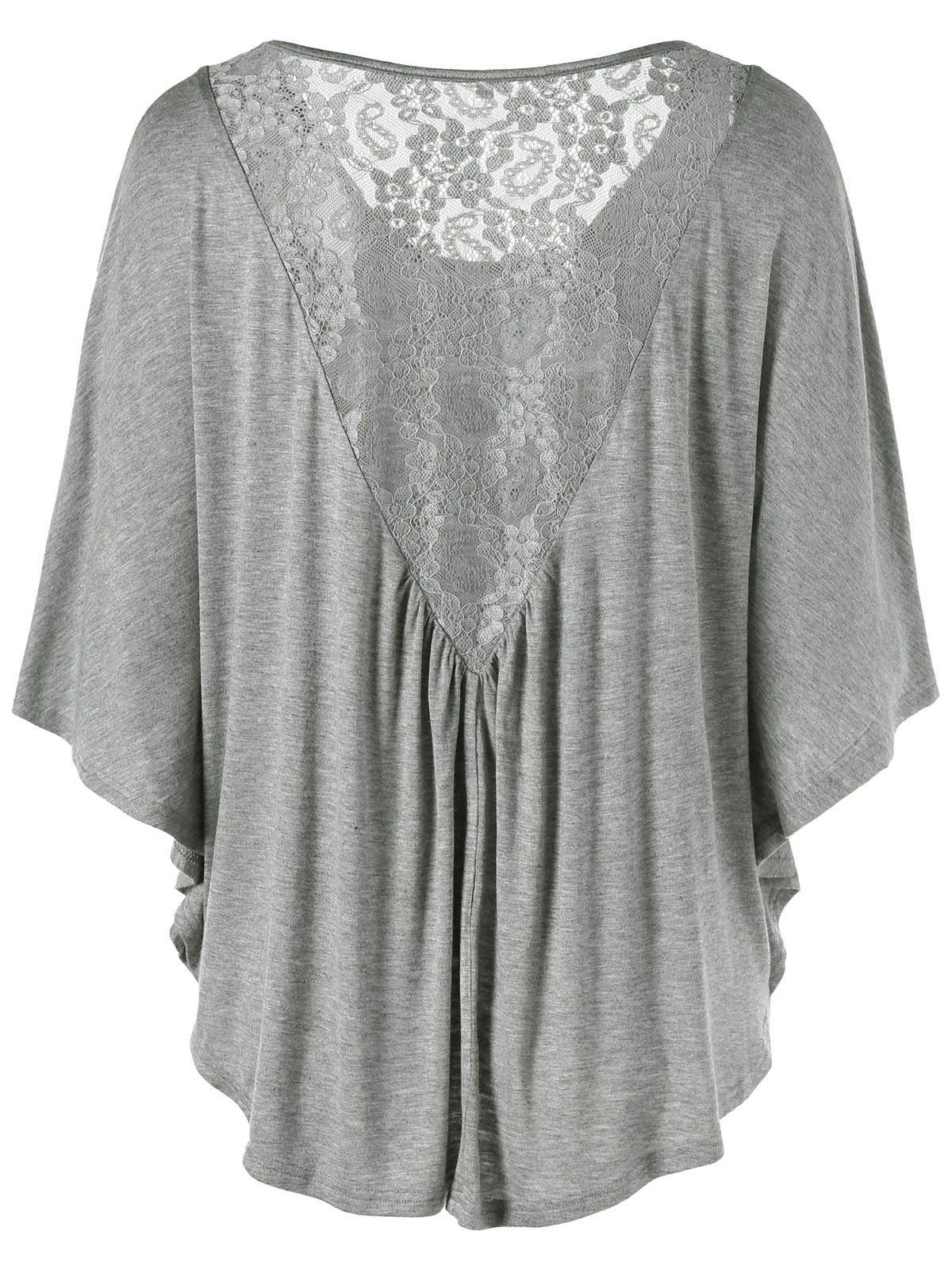Plus Size Butterfly Sleeve Lace Insert T-Shirt butterfly sleeve rhinestone embellished plus size t shirt