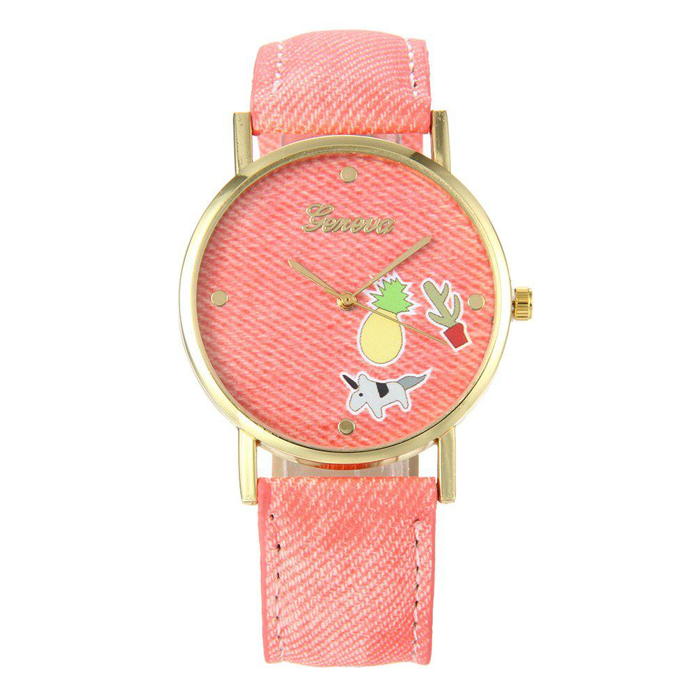 Cartoon Faux Leather Quartz Watch - PINK