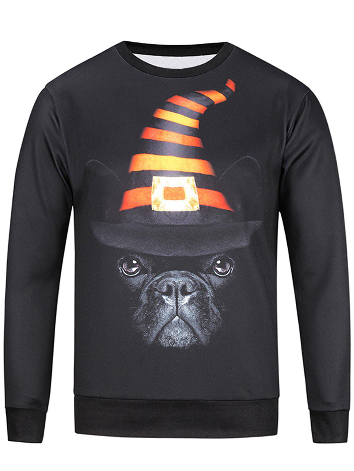 Long Sleeve 3D Hat and Dog Print Sweatshirt - COLORMIX 2XL