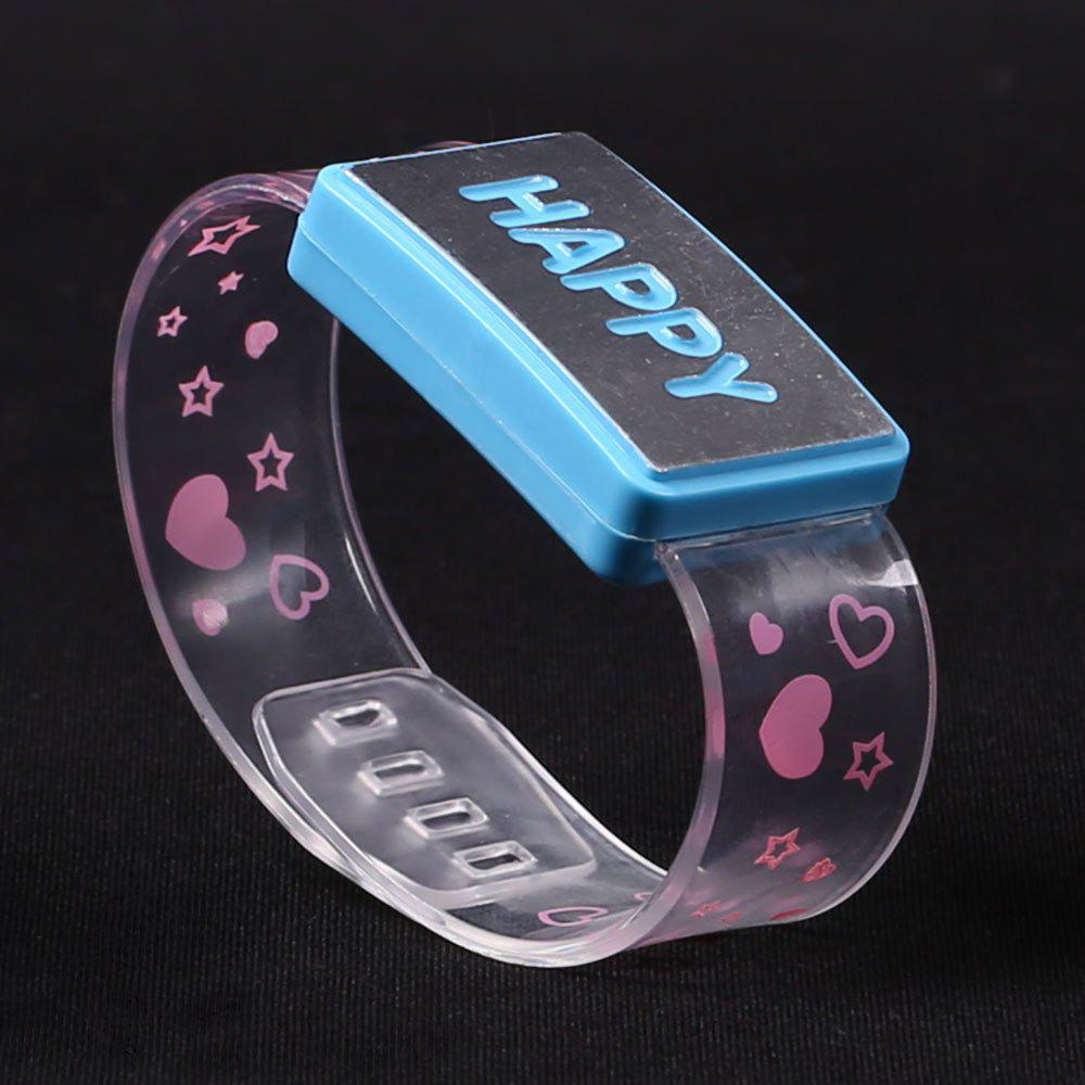 Party Decorated Watch Shape Flash Letter Light - BLUE HAPPY