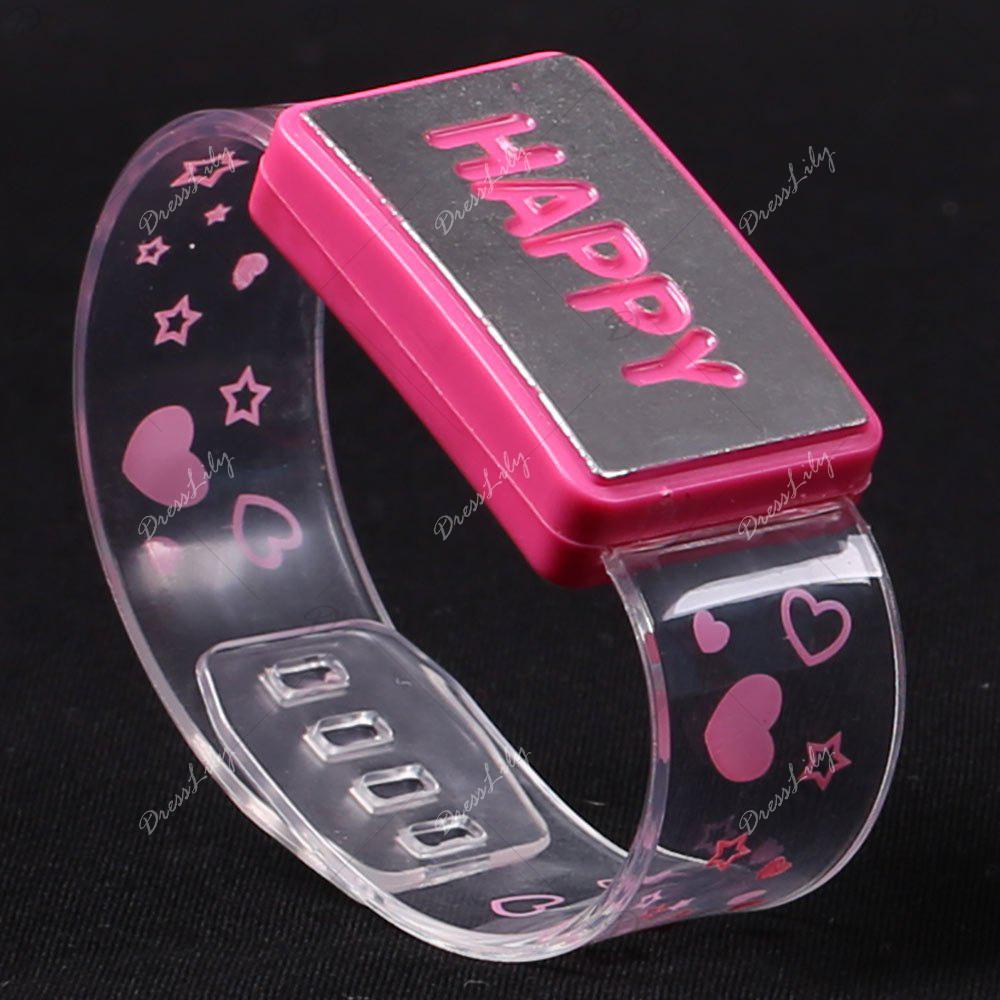 Party Decorated Watch Shape Flash Letter Light - PINK HAPPY