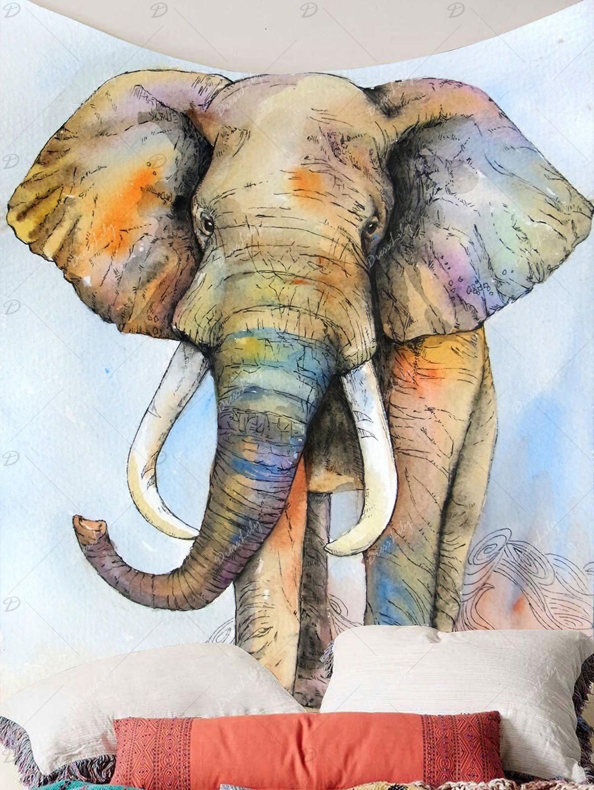 Elephant Print Wall Hanging Tapestry - COLORFUL W59 INCH * L59 INCH