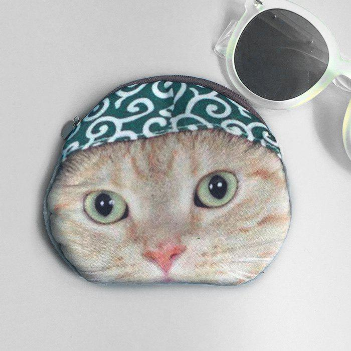 Cat 3D Printed Coin Purse - GREEN