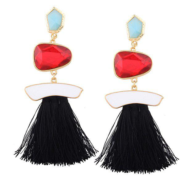Faux Gem Tassel Irregular Earrings - Noir