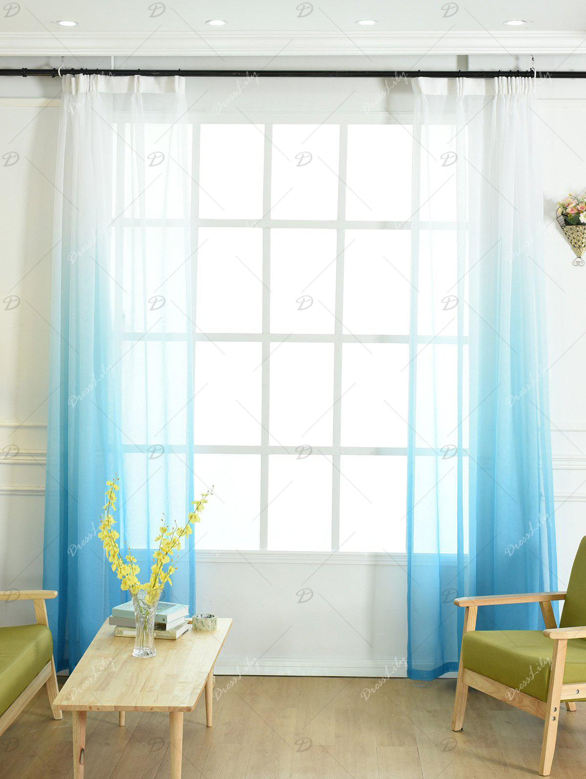 Ombre Sheer Tulle Curtain Decorative Window Screen - BLUE W54*L84INCH