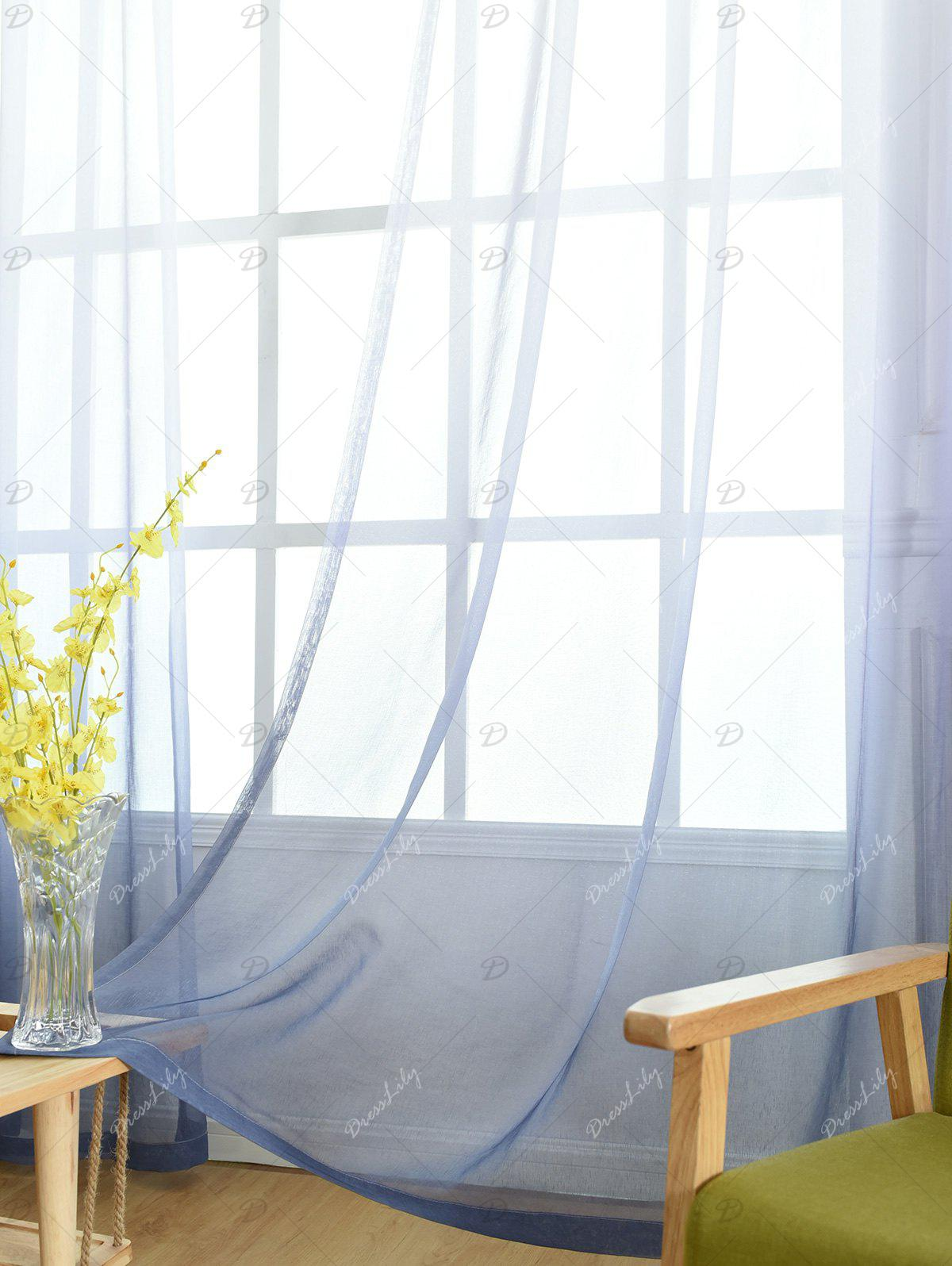 Ombre Sheer Tulle Curtain Decorative Window Screen - BLUE GRAY W54*L95INCH