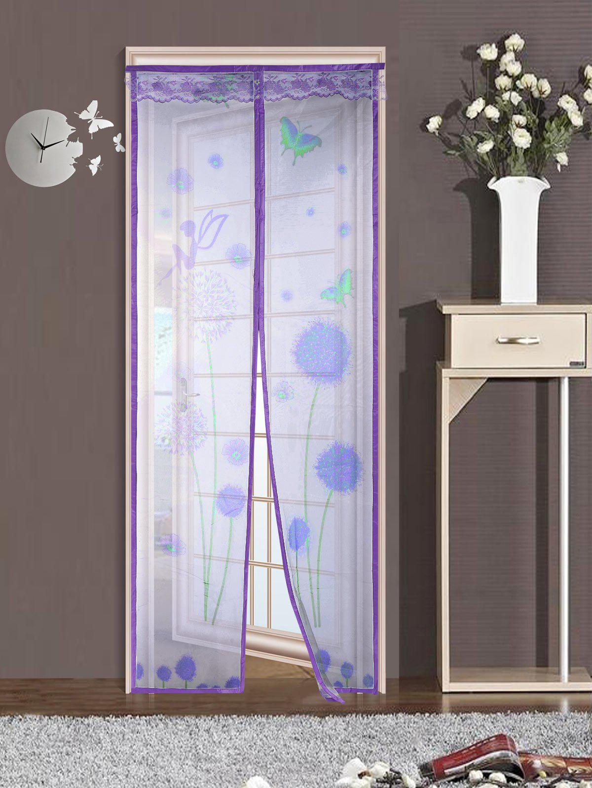 Dandelion Door Screen Insect Stopping Net Magnetic Curtain - PURPLE 100*210CM