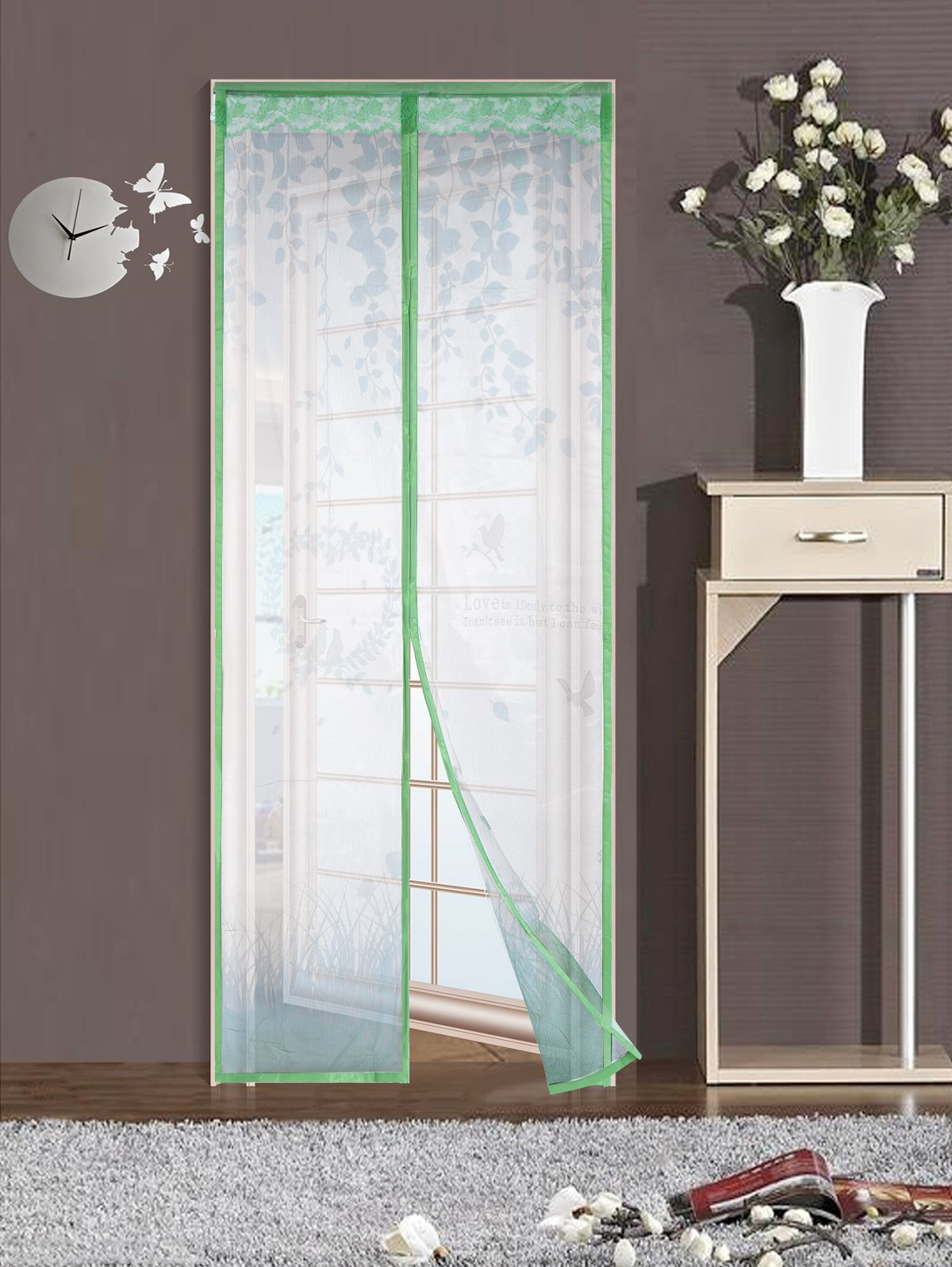 Self-Closing Anti Insects Mesh Door Screen Magnetic Curtain - GREEN 100*210CM