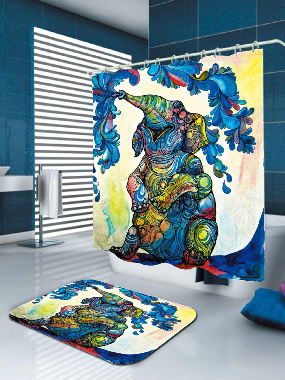 Waterproof Elephant Floral Shower Curtain - COLORFUL W71 INCH * L79 INCH