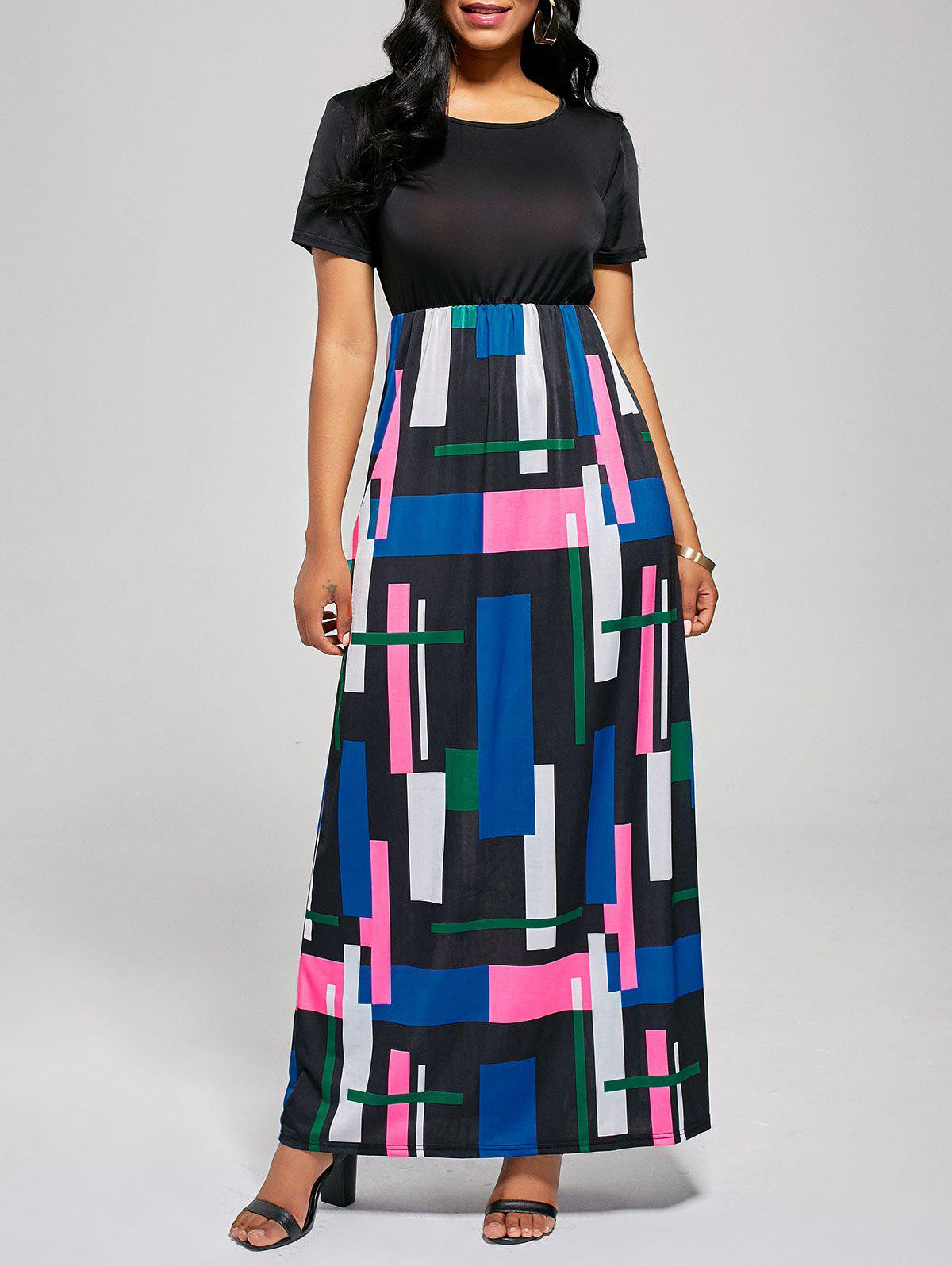 Geometric Print A Line Floor Length Dress - BLACK / ROSE M
