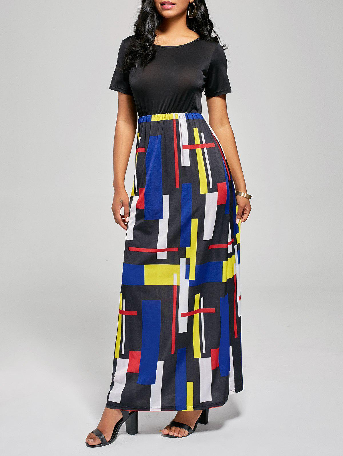Geometric Print A Line Floor Length Dress - BLACK/RED L