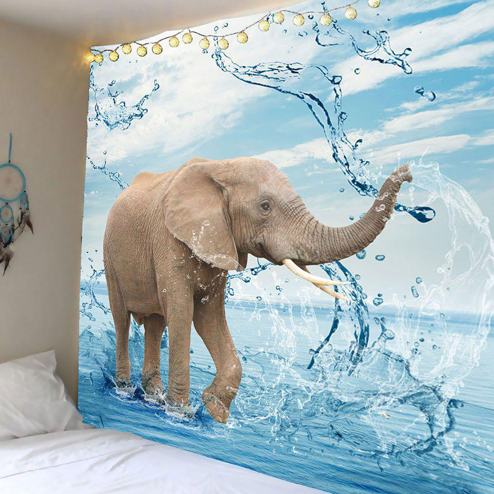 Home Decor Elephant Playing Water Wall Art Tapestry home decor lone wolf patterned wall art tapestry