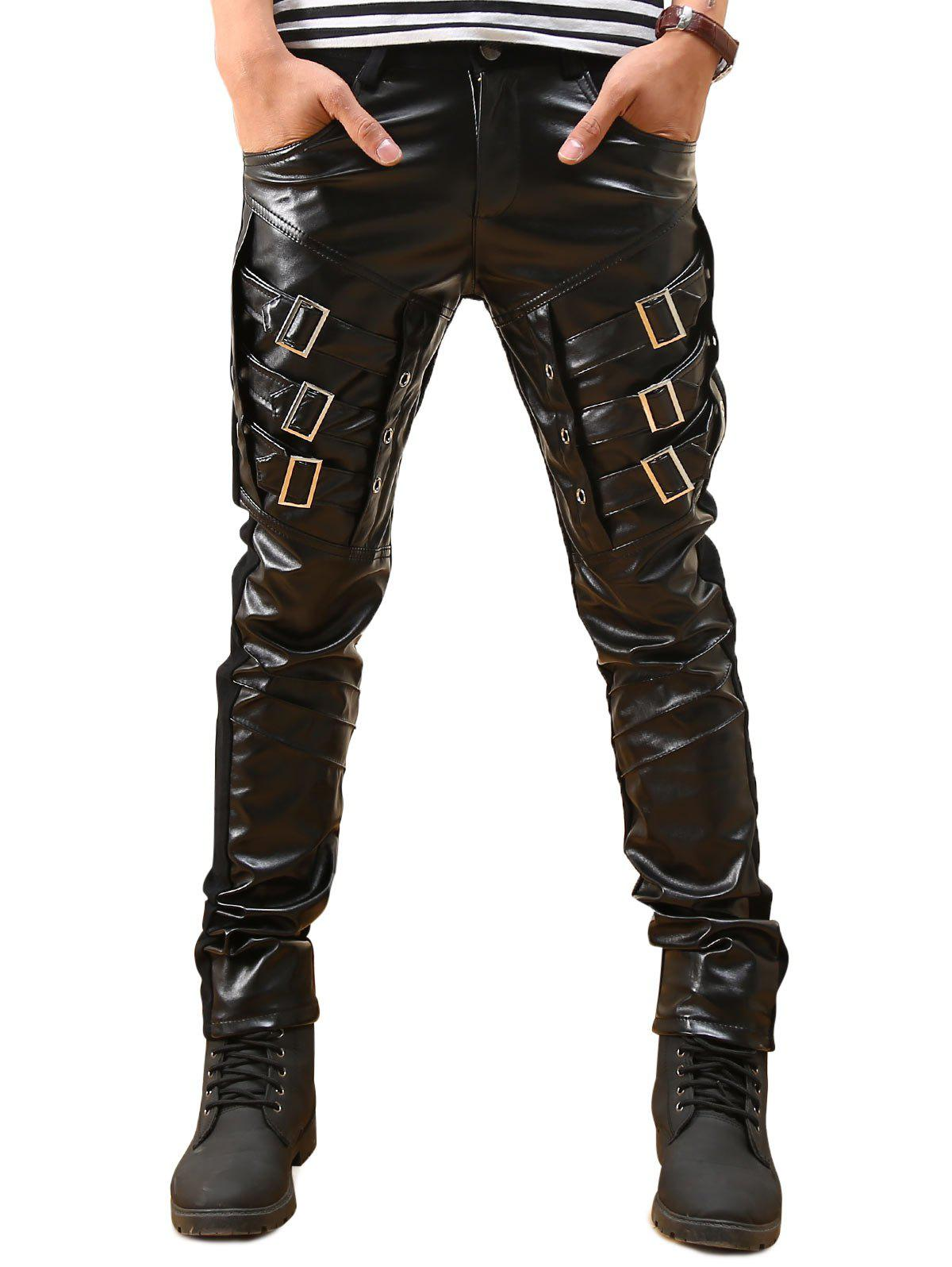 Buckled Skinny Faux Leather Pants - BLACK 32