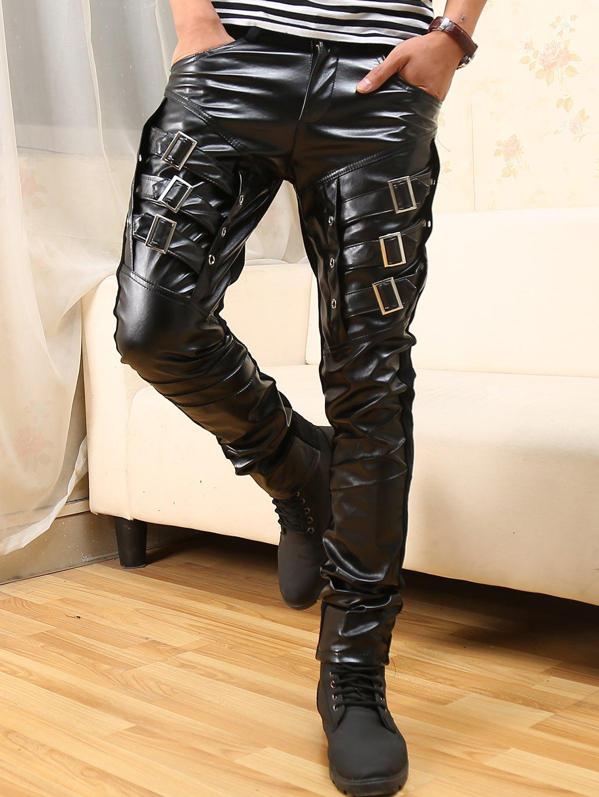 Buckled Skinny Faux Leather Pants - BLACK 34