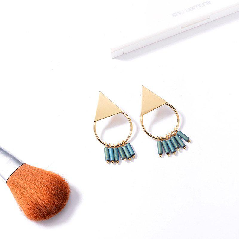 Triangle Fringed Round Earrings - GOLDEN