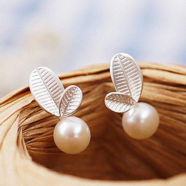 Fake Pearl Leaf Stud Earrings - SILVER