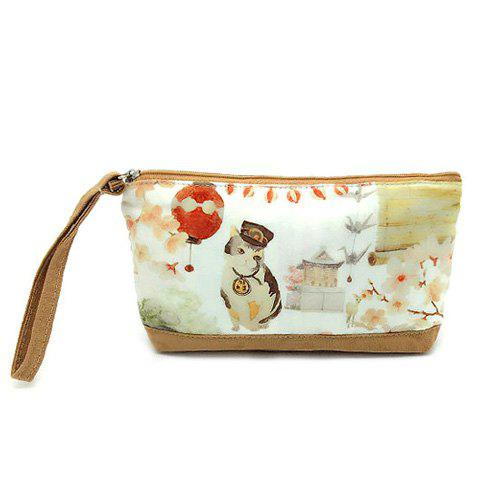 Cartoon Print Canvas Wristlet - YELLOW
