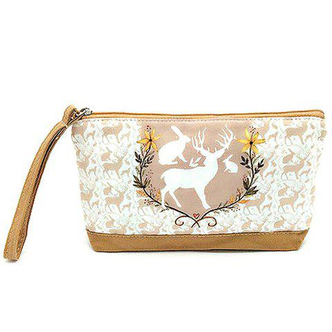 Cartoon Print Canvas Wristlet - LIGHT BROWN