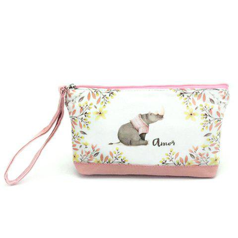 Cartoon Print Canvas Wristlet - PEACH PINK