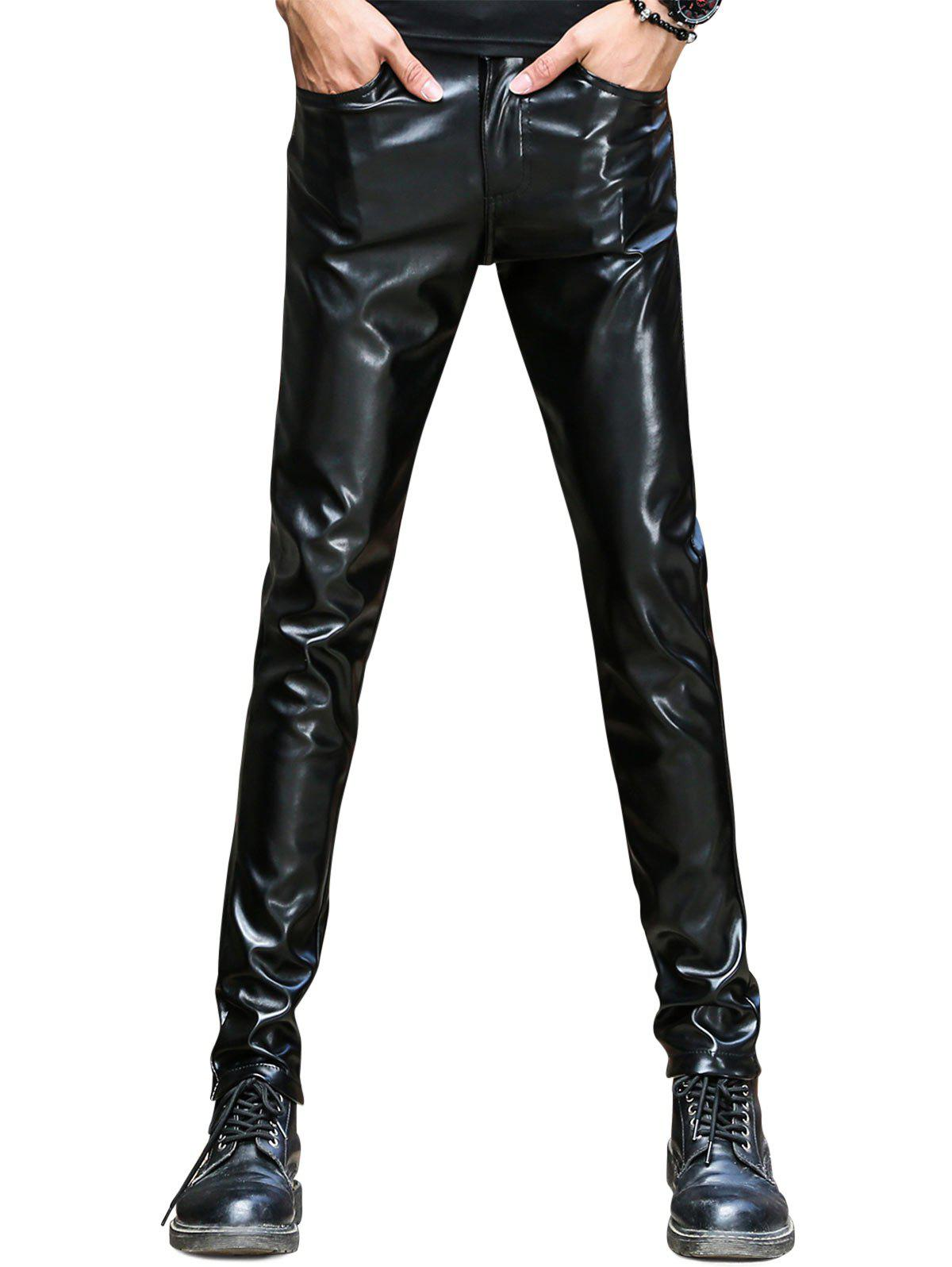 Pocket Skinny Faux Leather Pants - BLACK 34