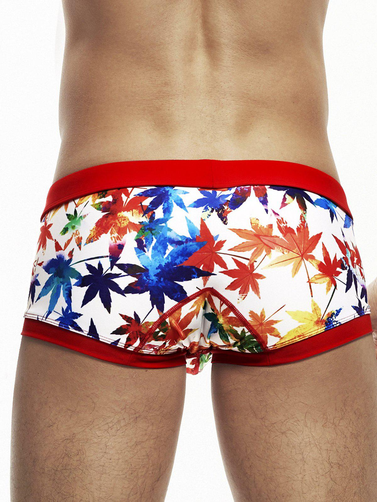 Pouch Design Colorful Maple Leaf Print Swimming Trunks - RED S