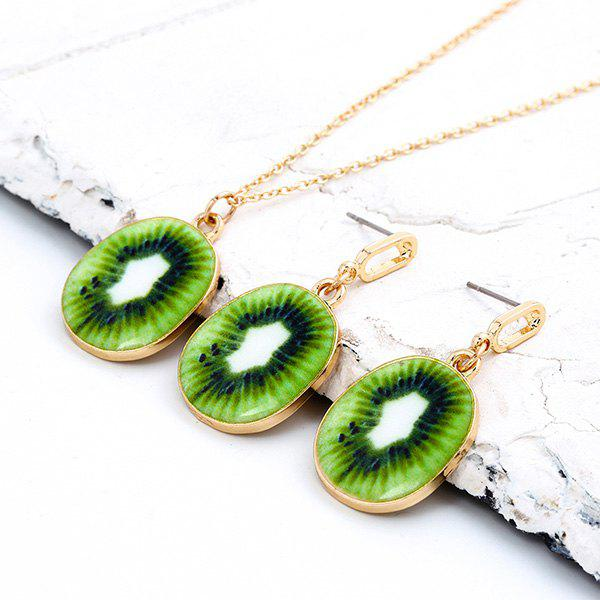 Tiny Kiwi Pendant Necklace and Earrings - GREEN