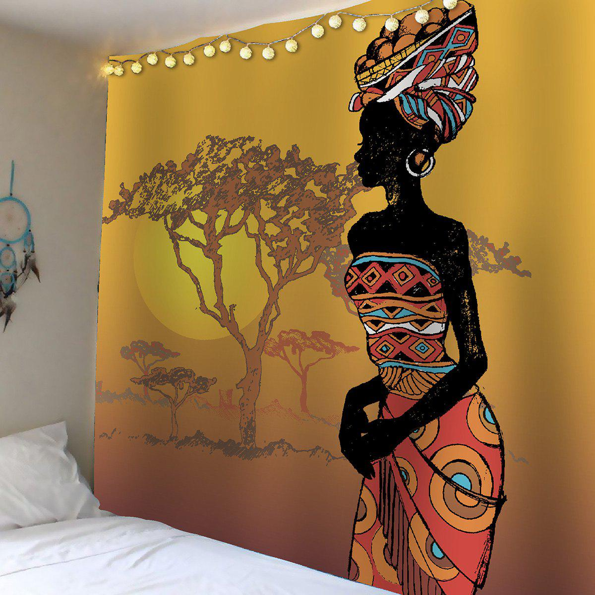 African Girl Tree Sunset Waterproof Wall Tapestry african girl print waterproof wall art tapestry