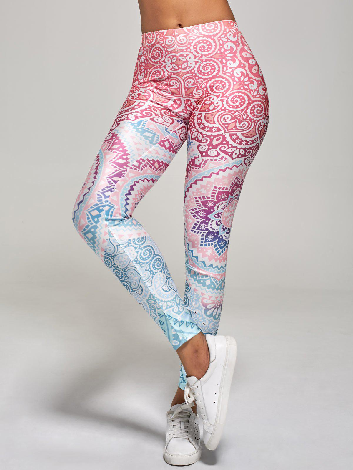 High Waisted Floral Print Ankle Length Leggings - multicolor XL
