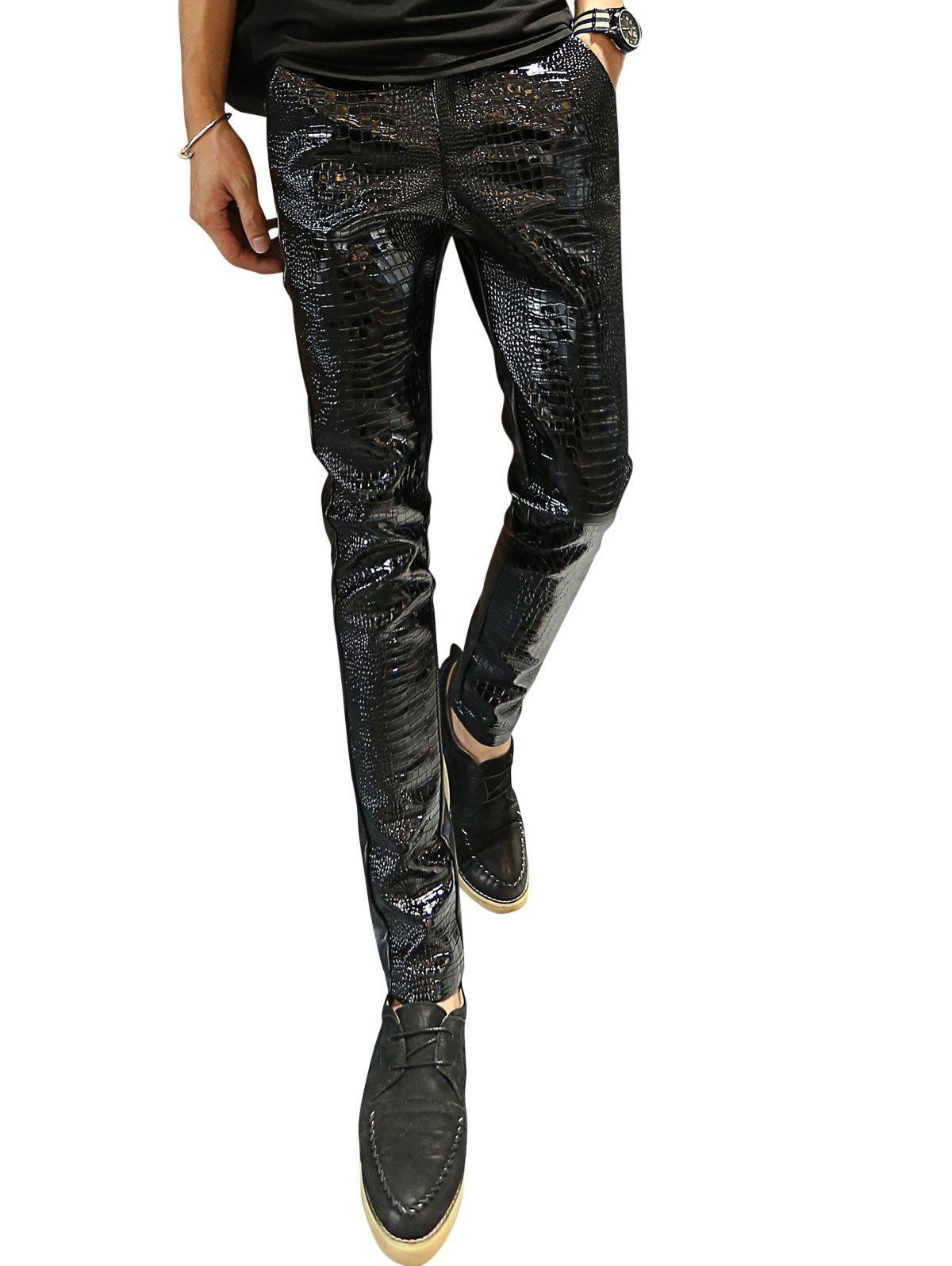 Crocodile Patten Skinny Faux Leather Pants - BLACK 35