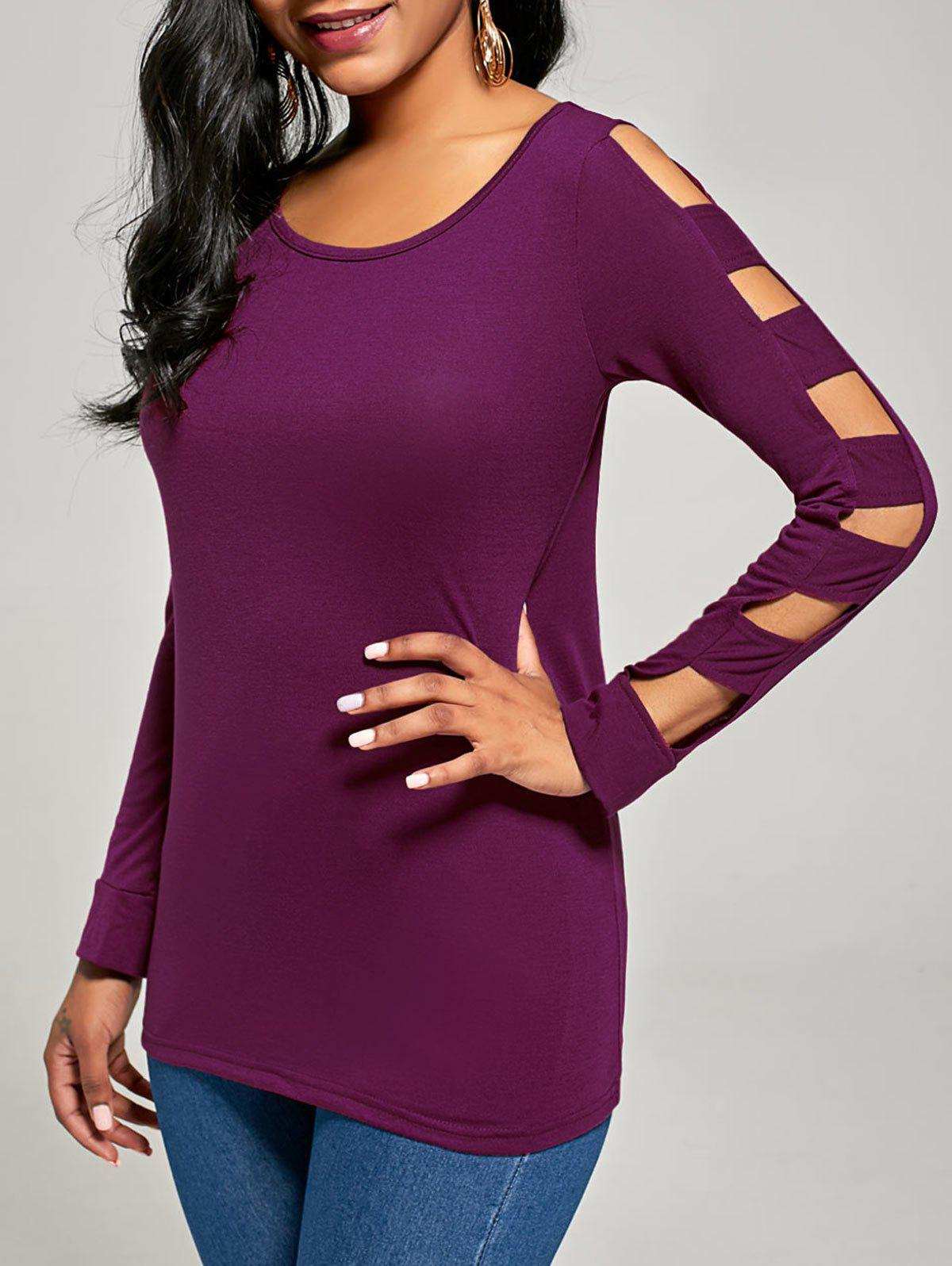 Elegant Women's Solid Color Cut Out T-Shirt For Women - PURPLISH RED S