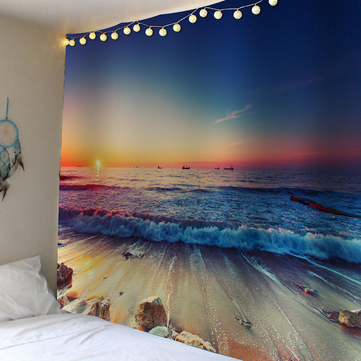 Waterproof Sunset Seaside Wall Tapestry seaside sunset print microfiber waterproof table cloth