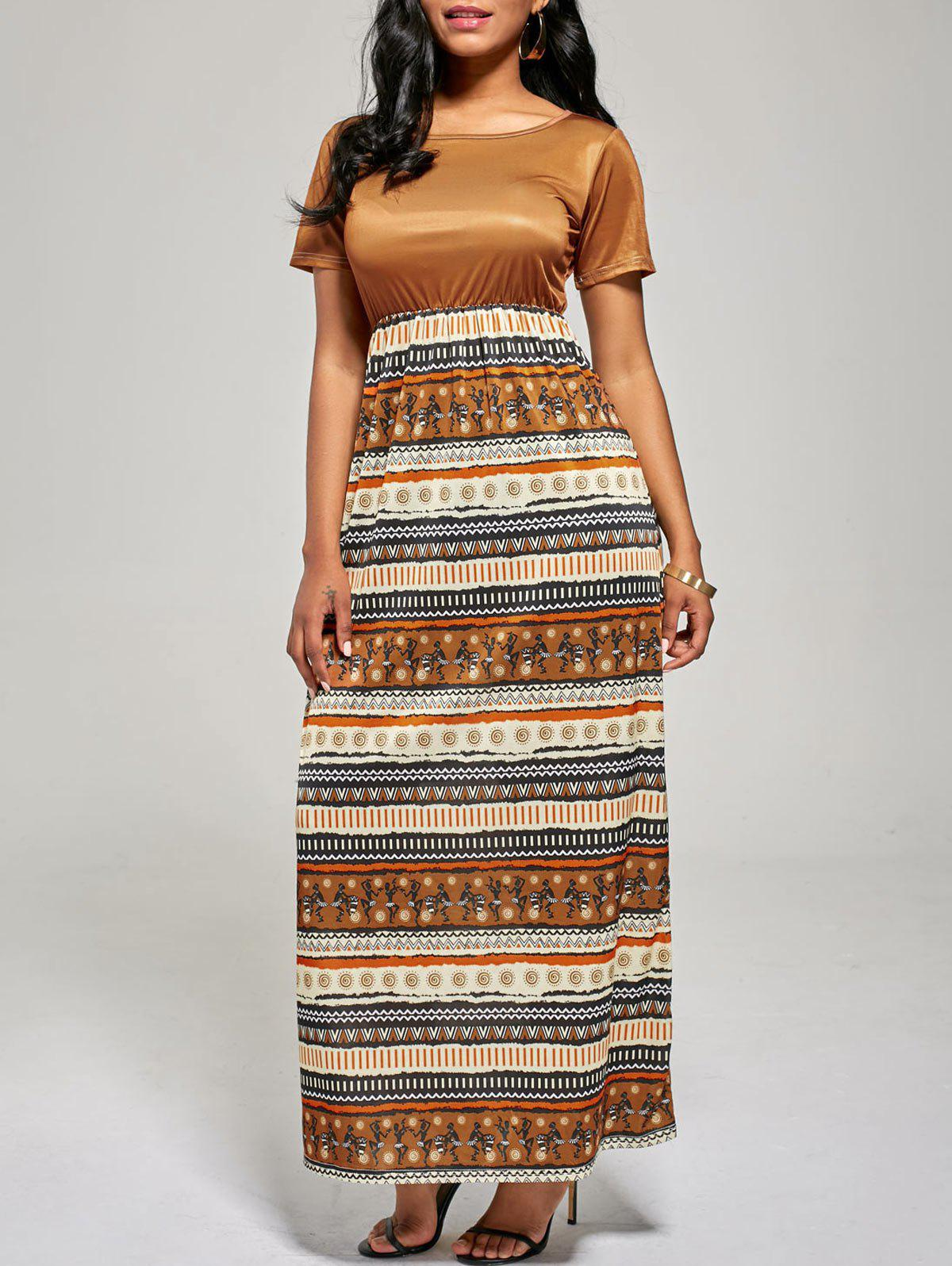 A Line Floor Length Boho Dress - BROWN L
