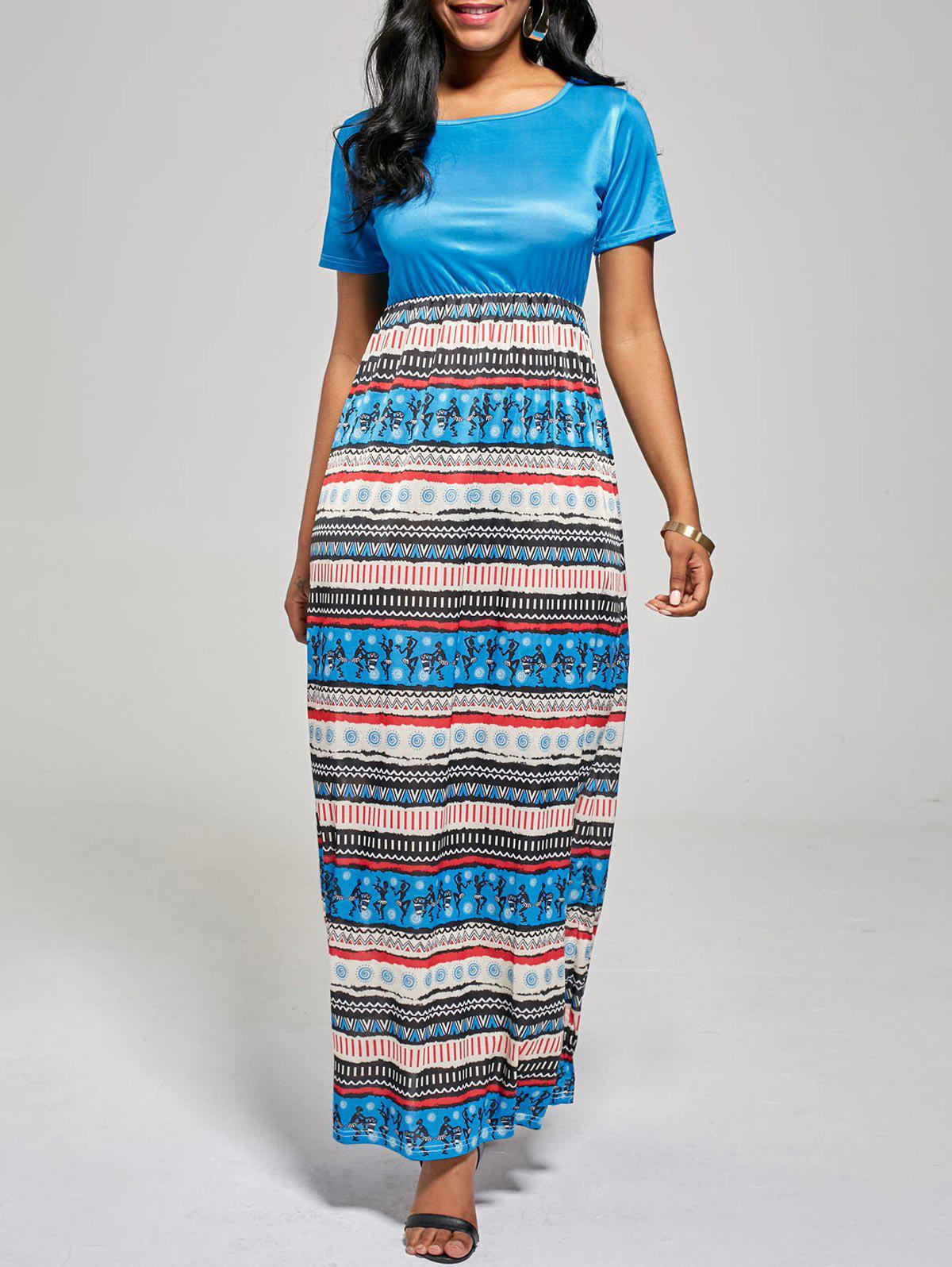 A Line Floor Length Boho Dress - BLUE XL