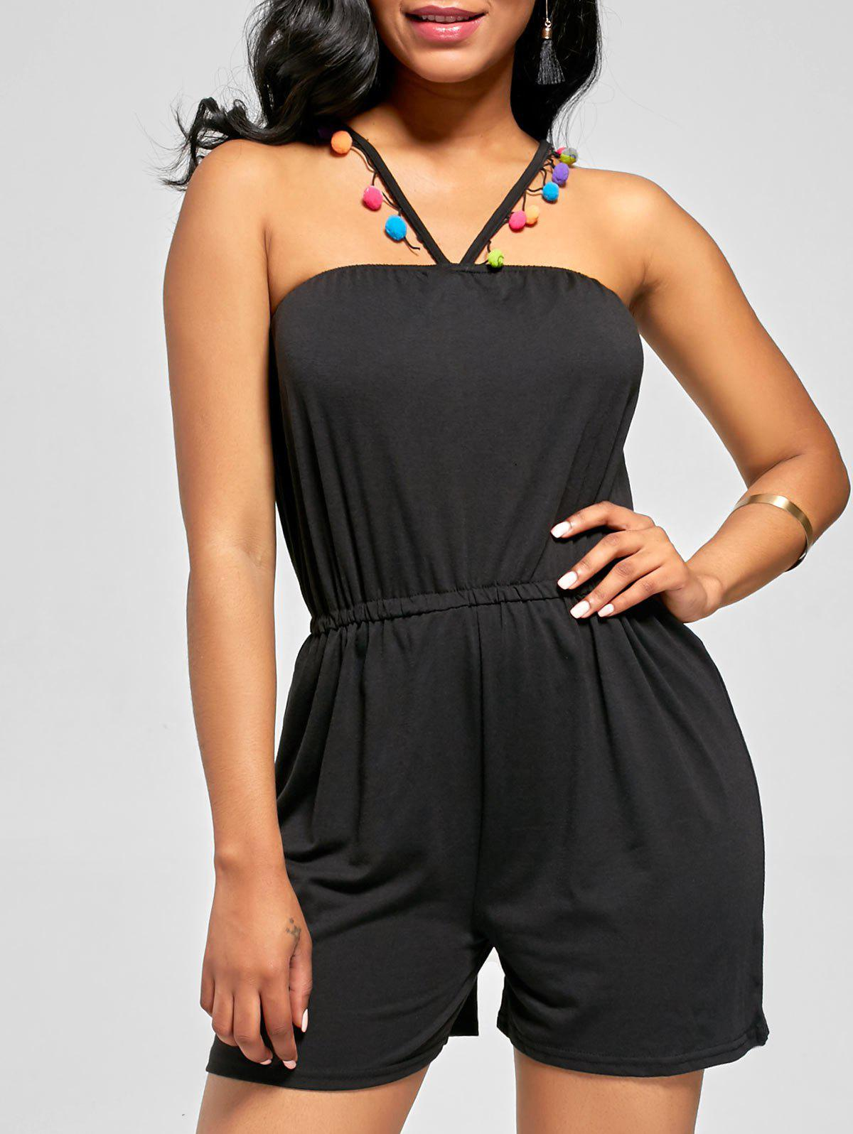 Sleeveless Halter Blouson Romper with Pompon Tassel - BLACK S