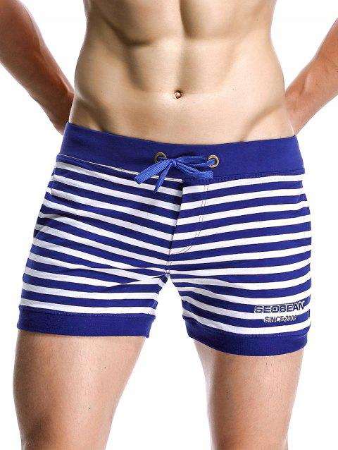 Drawstring Graphic Embroidered Stripe Home Shorts - BLUE L