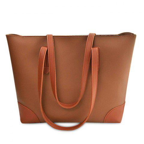 PU Leather Shopper Bag with Clutch Bag - BROWN