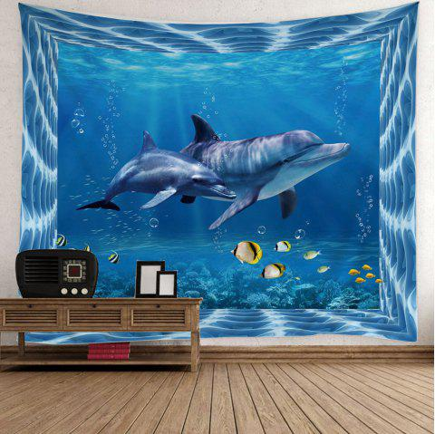 Home Decor Fish Dolphin Ocean Print Wall Tapestry - LIGHT BLUE W59 INCH * L59 INCH