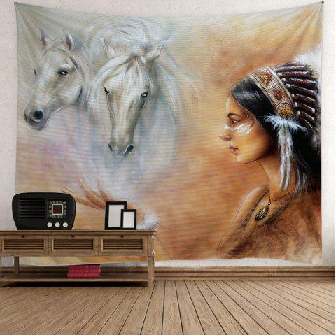Horse African Girl Print Wall Tapestry - COLORFUL W59 INCH * L51 INCH